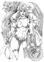 Red Sonja and a Dragon by Elizabeth Torque Comic Art