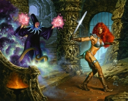 Red Sonja Wraparound Cover Comic Art
