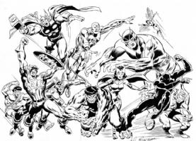 WANTED<King-Size Avengers #2 Buscema Pin-Up Comic Art
