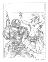 Complete Judge Dredd Special Edition '94 cover prelim, Comic Art
