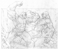 Pencil Art: Hulk vs. Swamp Thing, Comic Art
