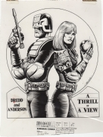 Judge Dredd and Judge Anderson acetate by Robin Smith   Comic Art