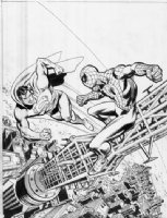 Superman vs Spider-man Comic Art