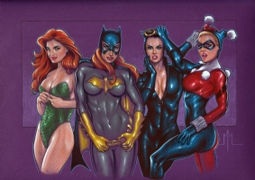 The Batgirls, Ivy, Batgirl,Catwoman, Harley Comic Art