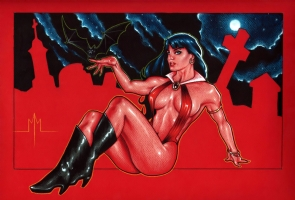 Vampirella in Classic Pose Comic Art