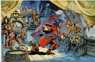 Ploog - Captain Hook vs Peter Pan Comic Art