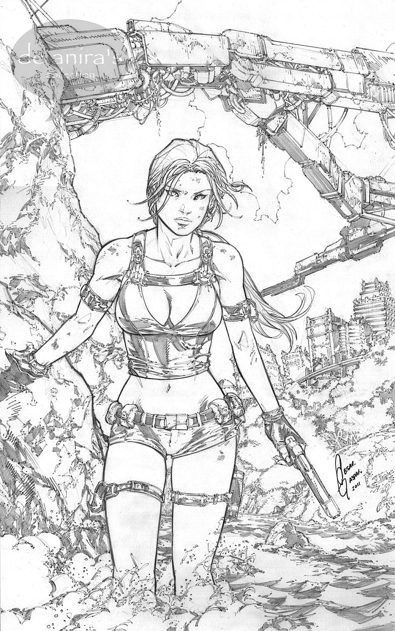 Tomb Raider Lara Croft by Cesar Gonzales Comic Art