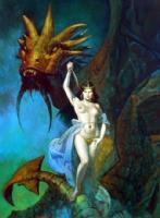 Woman and Dragon Comic Art