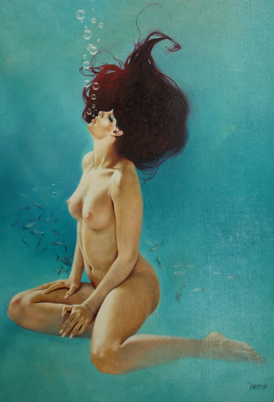 ENRICH TORRES UNDER WATER NUDE Comic Art