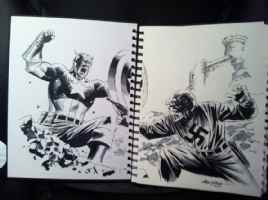 Steve Epting - Captain America vs Red Skull Two Page Sketch Comic Art