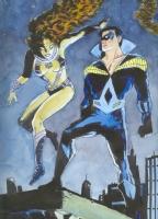 Nightwing & Starfire painted Comic Art