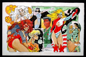 Femforce Poster - Ms. Victory, Nightveil, She-Cat, Stardust, Synn, Tara, & General Roberta Strock Comic Art