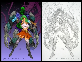 Brian Ching Aphrodite IX and Braxxus  Comic Art