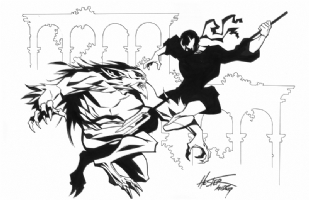 Grendel vs Argent the Wolf, Comic Art