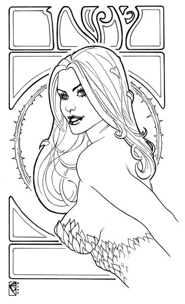 Poison Ivy Art Nouveau by Chad Spilker Comic Art