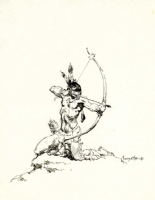 Frank Frazetta American Indian Sketch Comic Art