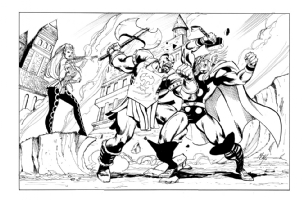 Thor vs The Executioner and Enchantress Comic Art