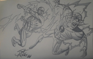 The Flash vs Professor Zoom by Scott Kolins Comic Art
