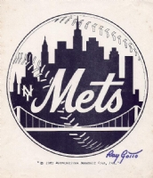 Ray Gotto - B&W NY Mets Logo Comic Art