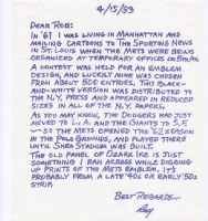 Ray Gotto - Letter - NY Mets Logo Comic Art