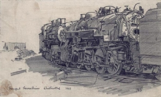 Noel Sickles - Drawing of Scrapped Locomotives - 1933, Comic Art