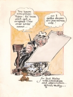 Willard Mullin - Bum Watercolor for Bud Blake Comic Art