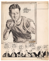Willard Mullin - Portrait of Boxer Gus Lesnevich - 1947 Comic Art