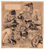 Willard Mullin - 1944 Boxing Cartoon - Beau Jack & Bob Montgomery Comic Art