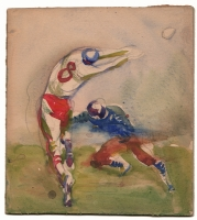 Gregor Duncan - Watercolor Football Sketch, Comic Art
