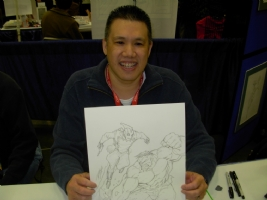Ron Lim with Hulk/Rocketeer commission, pencils Comic Art