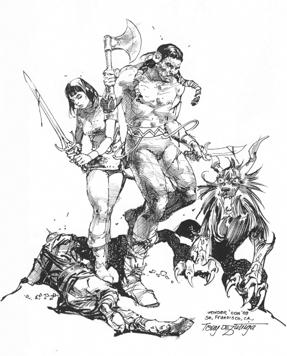 Arak, Son of Thunder and Valda the Iron Maiden : Tony DeZuniga Comic Art