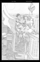 Superman and Wonder Woman Comic Art