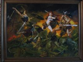 Sanjulian Red Sonja & Conan Book Painting Comic Art