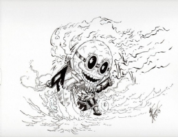 Minion Ghost Rider on a tricycle, Comic Art