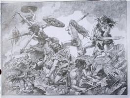 Sanjulian ~ Conan & Red Sonja HUGE original art! SOLD!! Comic Art