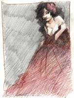 Femme en rouge - Crayons de couleur, Comic Art