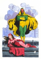 Vision and Scarlet Witch by Bo Hampton Comic Art