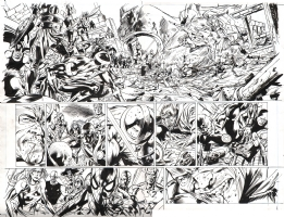 New Avengers Finale pages 14 & 15 by Bryan Hitch and Butch Guice Comic Art