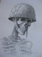 Zombie WW II soldier -- head shot Comic Art