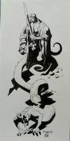 Hellboy vs. demon, Comic Art