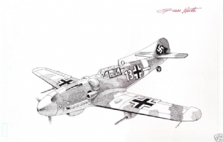 Me 109 German WWII fighter aircraft by Russ Heath Comic Art