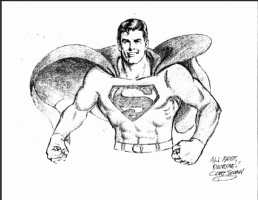 Curt Swan Signature on Superman Print Comic Art