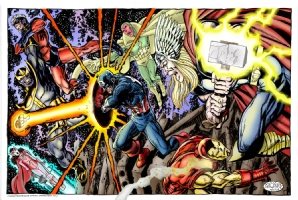 Avengers vs Thanos Comic Art