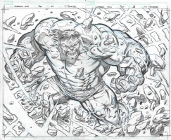 Paul Pelletier - Incredible Hulk #610 page 22 & 23 Double Splash Comic Art