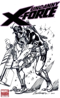 Uncanny X-Force Blank - Deadpool Sketch - Brad Walker Comic Art