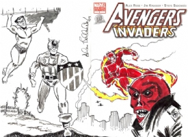 Avengers/Invaders Sketch Cover - Invaders - Allen Bellman - CGC 9.8 Comic Art