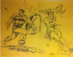 Timely Comics HC - Captain America, Torch & Namor Sketch - Allen Bellman Comic Art