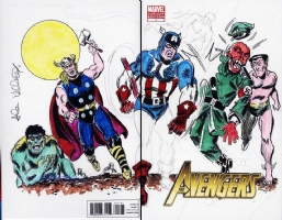 Avengers #1 Sketch Cover - Avengers/Invaders vs Red Skull - Allen Bellman - CGC 9.8 Comic Art