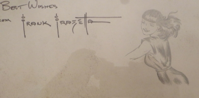 Close up of sketch of Jean and Frazetta Signature , Comic Art