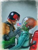 MARS ATTACKS JUDGE DREDD Cover Painting - Greg Staples Comic Art